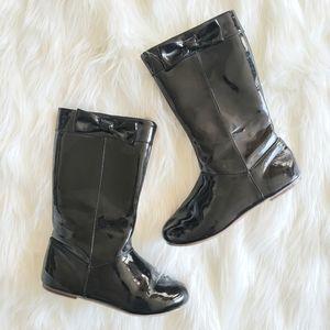 Gymboree Black Patent Tall Riding Boots Girl 13